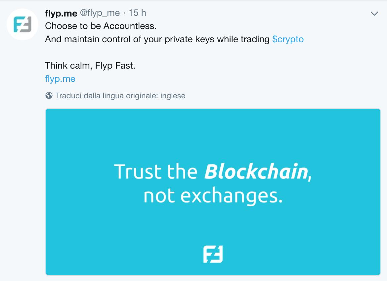La comunicazione twitter di Flypme Trust the Blockchain