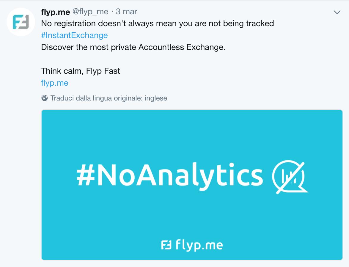 La comunicazione twitter di Flypme NoAnalytics