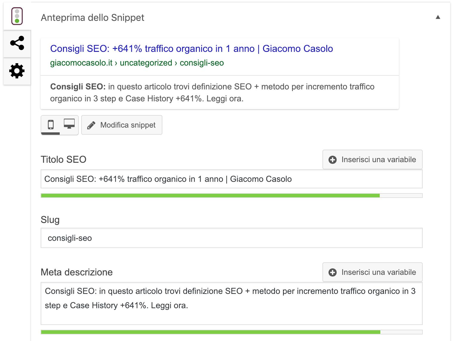Seo Title e Meta Description ottimizzazione, Giacomo Casolo
